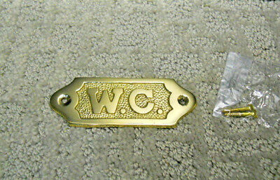 Solid Brass W.C. Door Sign Or Decorative Plaque Wall Hanging New