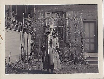 Old Vintage Antique Photograph Woman Wearing Great Outfit Standing in Yard