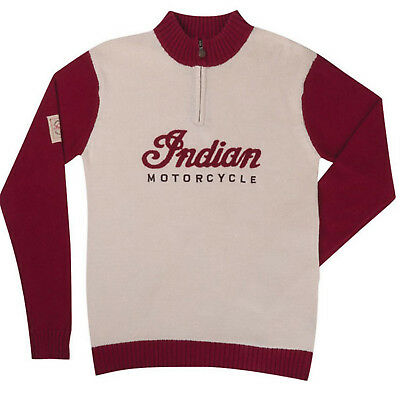 Indian Motorcycle New OEM Men's Red Tan Race Knit Pullover Sweater, XS, 28637540