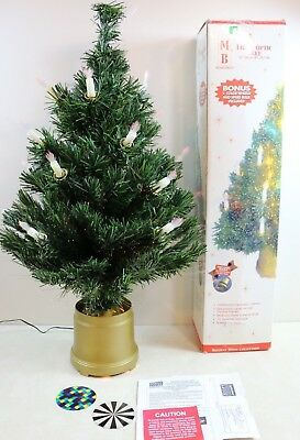"""Vintage 32"""" Fiber Optic Lighted Color Changing CHRISTMAS TREE w/ Candle Sticks"""