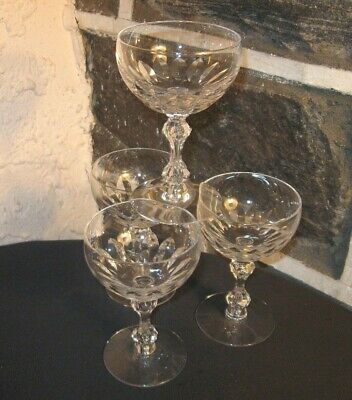 Champagne /dessert cups LOT OF 4 Fine cut crystal unique stem nice  crystal