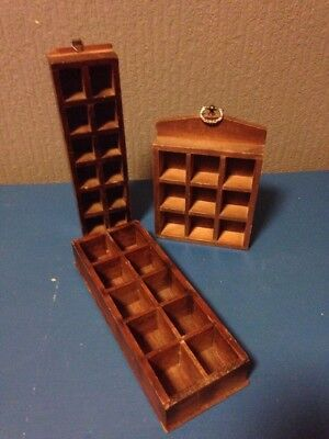 3 x thimble display racks holds 33 vintage wooden wall mounted