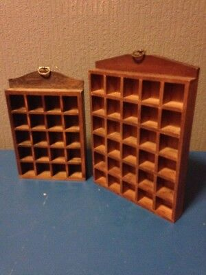 2 x thimble display racks holds 50 vintage wooden wall mounted