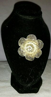 Antique Hand Made Sterling Silver Filigree Lace Rose Pin Brooch