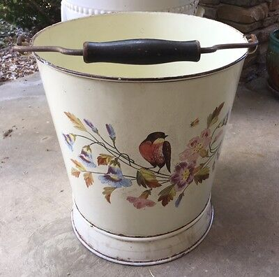 Rare Vintage French Floral Hand-Painted Enamel Bucket w/ Bale Wire & Wood Handle