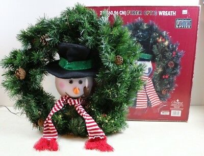 """24"""" Christmas Fiber Optic SNOWMAN WREATH w/ Continuous Changing Color Lights"""