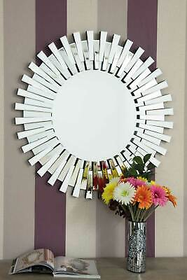 Large Modern Design Round All Glass Sunburst Venetain Wall Mirror 2Ft8 80cm