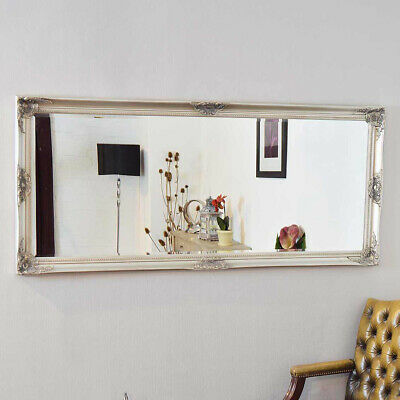 Large Wall Mirror Antique Style Silver Shabby Chic 5Ft3 X 2Ft5 160cm X 74cm