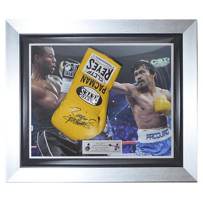 Signed Manny Pacquiao Cleto Reyes Pro Fight Glove Framed- Pacman