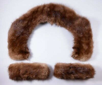 Vintage Chestnut Brown Mink Fur Collar and Cuffs - ADD to your outfit!