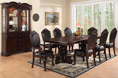 Chateau Traditional 10 Piece Formal Dining Room Set Antique Pedestal Table Hutch