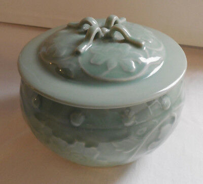 Vintage Chinese Celadon Covered Bowl/ Pot Light Green Floral Pattern