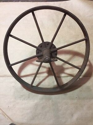 Vintage Wagon Wheel Arbor Axle Old Antique Wheelbarrow Lawn Art Sculpture Decor