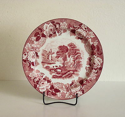 Wood & Sons Pink/Red English Scenery Luncheon Plate