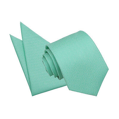 DQT Woven Greek Key Patterned Mint Green Mens Classic Tie Hanky Wedding Set