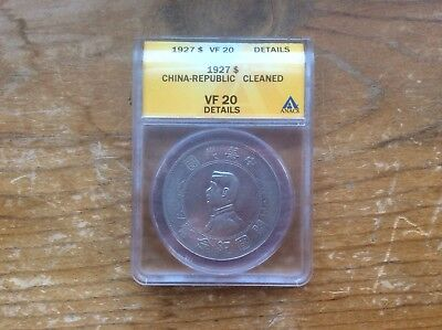 1927 CHINA REPUBLIC SILVER DOLLAR $1 ANACS VF 20 details