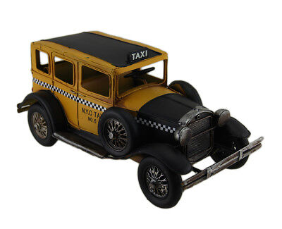 Zeckos 12 in. Vintage Finish Antique Style Yellow Metal Taxi Sculpture