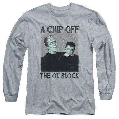 Munsters Chip Off the Old Block Herman /& Eddie Adult Long Sleeve T-Shirt S-3XL
