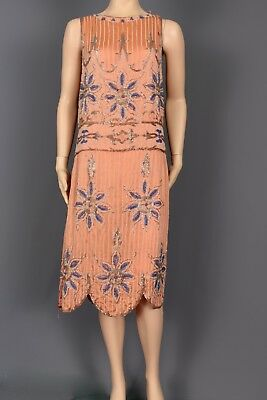 Size Small Authentic 1920's Salmon Silk Elaborately Glass Beaded Flapper Dress