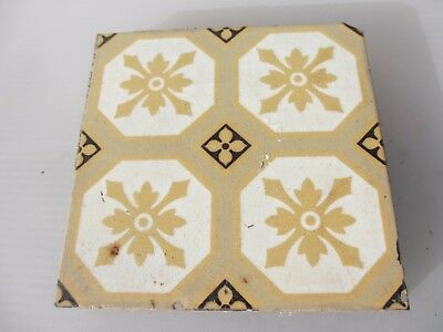 "Victorian Ceramic Floor Tile Terracotta Antique 1800's Pugin Gothic Old ""GODWIN"""