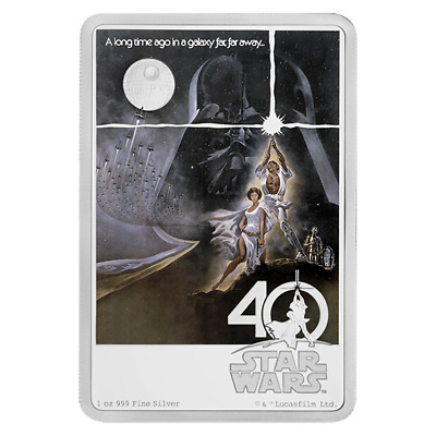 2017 NIUE STAR WARS 40th ANNIVERSARY POSTER NEW HOPE  1 oz   SILVER COIN BAR