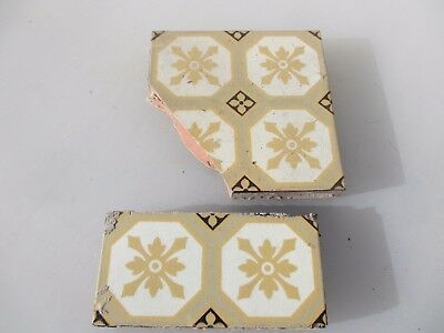 "Victorian Ceramic Floor Tile Antique 1800's Pugin Gothic Old ""GODWIN""    BROKEN"