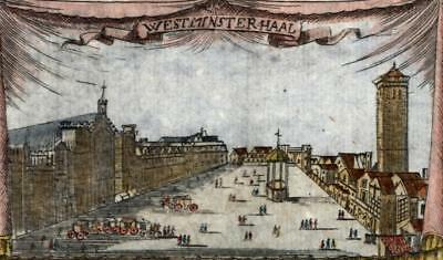 London Westminster Hall Thames river 1719 birds-eye view print charming color
