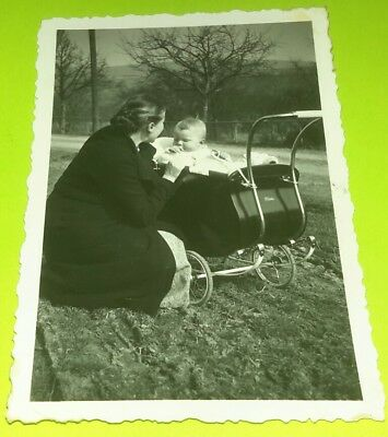 Vintage Old 1930's Photo of a Mother and Baby in Awesome Metal Stroller Buggy