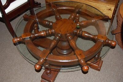 Vintage Ships Wheel Nautical Glass Top Coffee Table Solid Wood Round From Estate