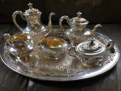Antique Gorham Buttercup Holloware 5-pc Sterling Tea Set 991-5, Silverplate Tray