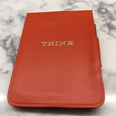 Original IBM Thinkpad - Orange Leather think Notepad w Paper Gold Pencil Vintage