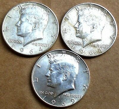 Lot of 3 silver Kennedy half dollars: 1964, 1964 & 1969; no reserve w/ free ship
