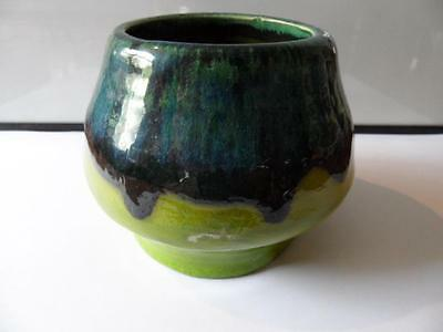 Vintage Retro Australian Studio Piece Pottery Signed Meg Squat Vase Bowl Green