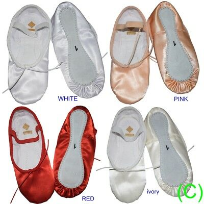 Satin Ballet Dance Shoes Pink White Ivory Red Bridesmaid Children's Adults (CC)