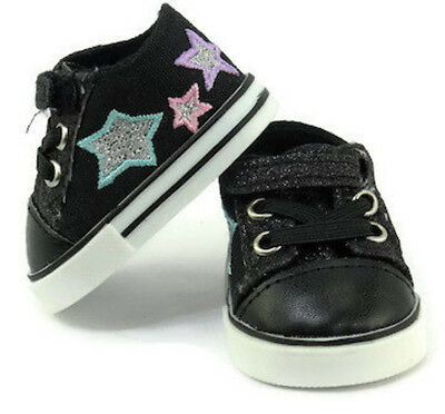 """Black Glitter and Stars Tennis Shoes Sneakers for 18"""" American Girl Doll Clothes"""