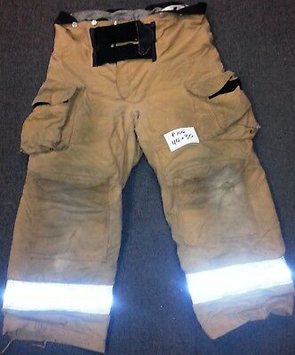 44x30 Firefighter Pants Bunker Fire Turn Out Gear Tan Brown Janesville P766