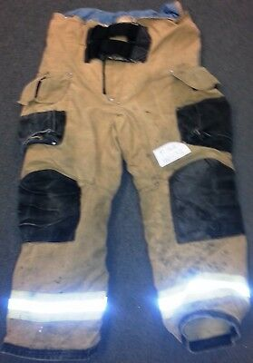 40x32 Firefighter Pants Bunker Fire Turn Out Gear Tan Brown Janesville P762