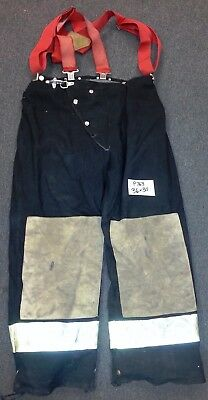 36x30 Firefighter Black Pants Bunker Turnout Gear Suspenders Morning Pride P763