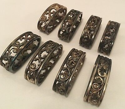 Silver Plated ANTIQUE Vintage Napkin RINGS Rogers Bros 1847 Set of 8