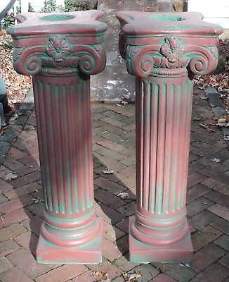A Pair of Antique Painted Solid Concrete Corinthian Pedestal Columns Pillars #2
