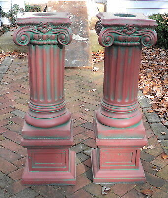 A Pair Antique Painted Concrete Corinthian Pedestal Columns Pillars on Basis #1