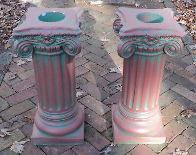 A Pair of Antique Painted Solid Concrete Corinthian Pedestal Columns Pillars #3