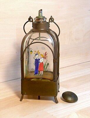 Vintage  Brass and Hand Painted Glass Olive Oil Bottle with Music Box Base