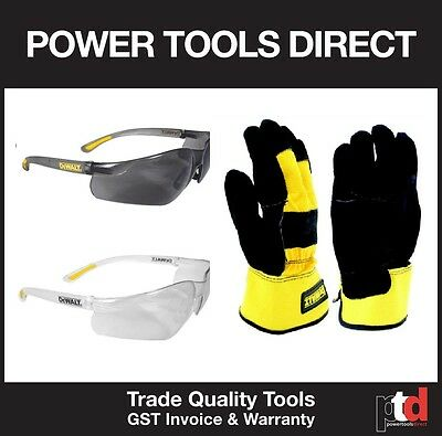 New Dewalt Safety Pack - Heavy Duty (1 X Gloves, 1 Tinted & 1 X Clear Glasses)