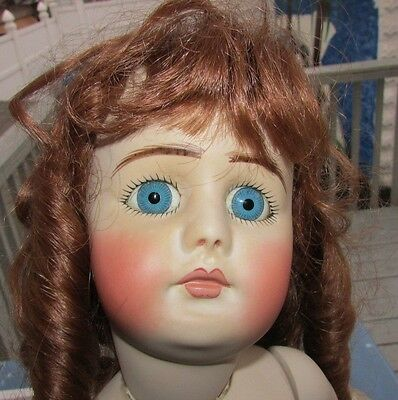 """Antique French Bru Doll Reproduction Beautiful Red Head 20"""" Signed All Bisque"""