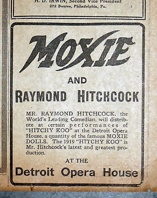 Comedian Raymond Hitchkock & Moxie Dolls - 1919 Detroit Newspaper Page