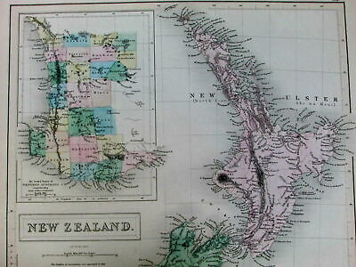New Zealand Western Australia Tasmania Van Diemen's Land 1853 Hughes Black map