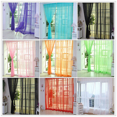 High-quality Tulle Voile Window Curtain Drape Panel Sheer Scarf Divider Decor