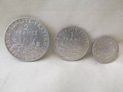 3 Antique Silver French Coin Coins Franc Centimes 1917 1916 1917