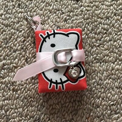 Red Hello Kitty Book Key Ring/Chain With Pearl Pink Belt And Heart Charm